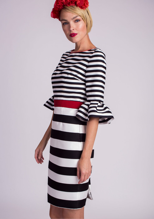 Striped cocktail dress with red belt