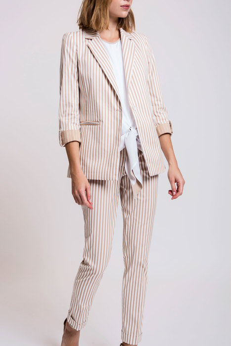 Striped suit in beige
