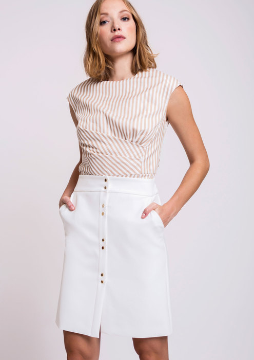 Striped top with white skirt