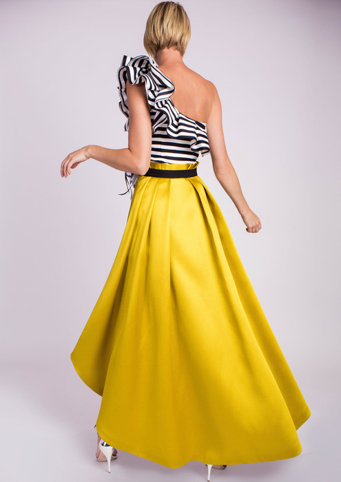 Striped top with yellow special occasion skirt