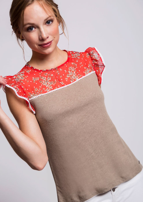Taupe and coral T-shirt