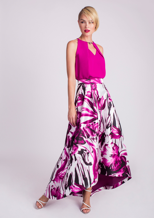 Top with printed skirt in fuchsia