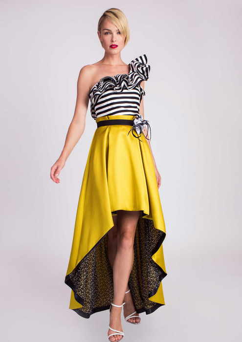 Top with special occasion skirt in yellow
