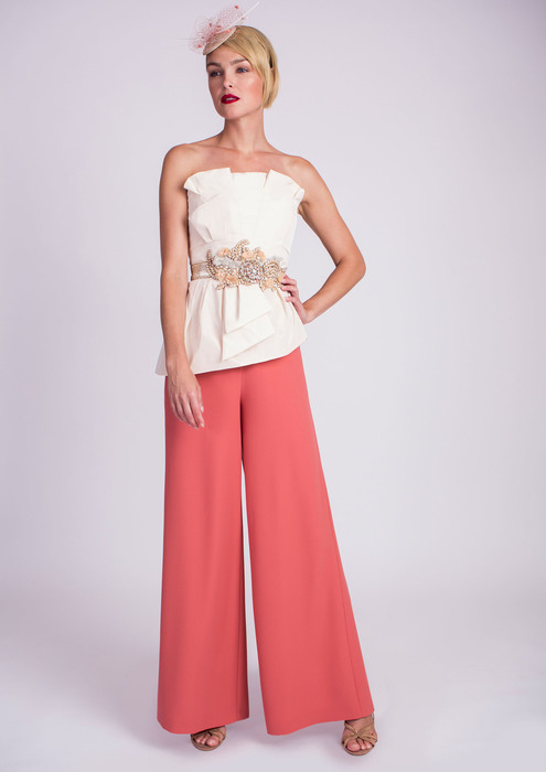 Top with wide leg trousers in salmon