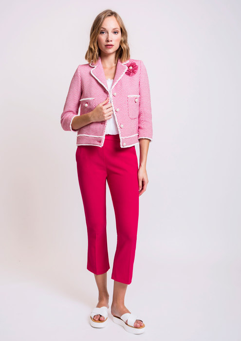 Two-tone tweed jacket with fuchsia trousers