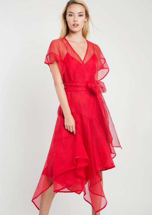 3af052a61f Vestido de fiesta de organza en rojo