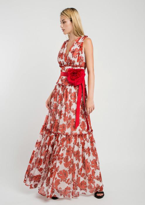 f009076d1 Vestido largo de fiesta estampado floral rojo