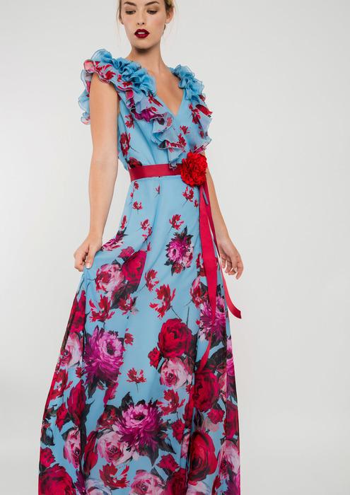 db733ba98 Vestido largo de fiesta azul con estampado floral