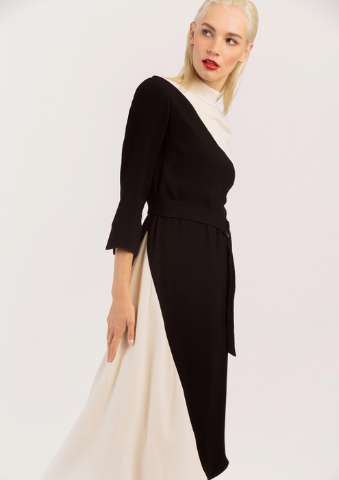 Black and ecru AC midi dress.