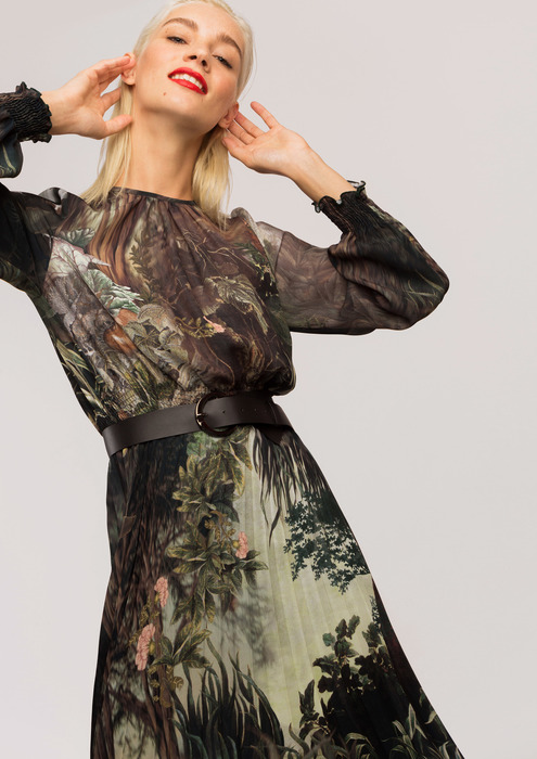 Floral print dress in shades of green.