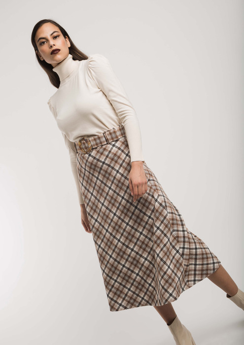 A-line checked skirt