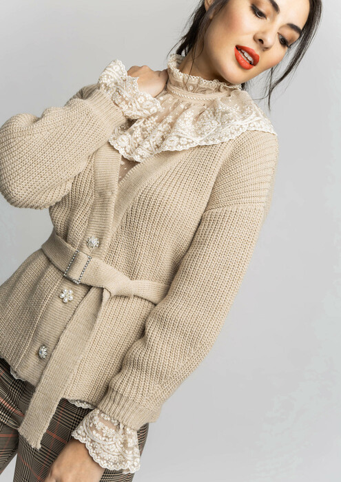 Beige jacket with embellished buttons