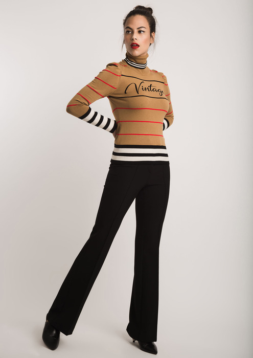 Camel jumper with stripes