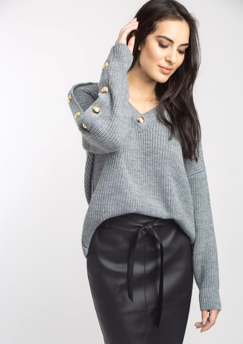 Grey button sweater