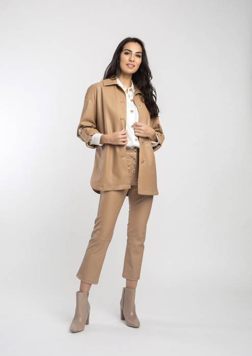 Leather effect camel outfit