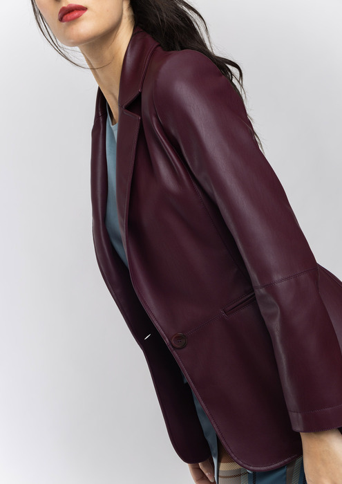 Leather effect semi-fitted blazer