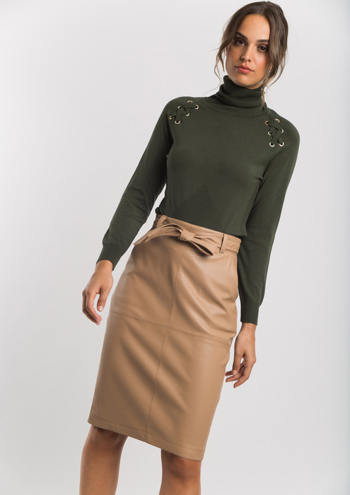 Leather effect straight skirt