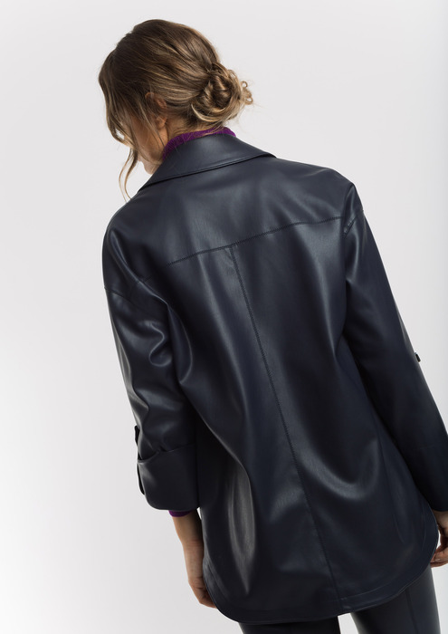 Navy leather effect overshirt