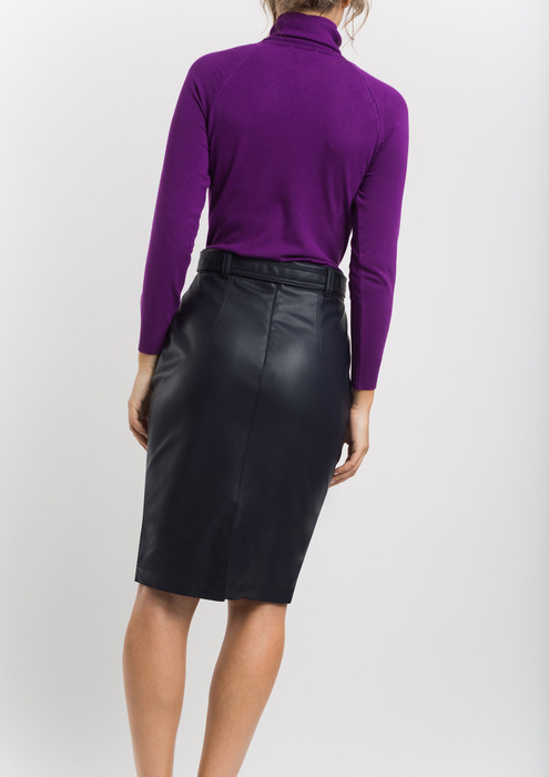 Navy leather effect skirt