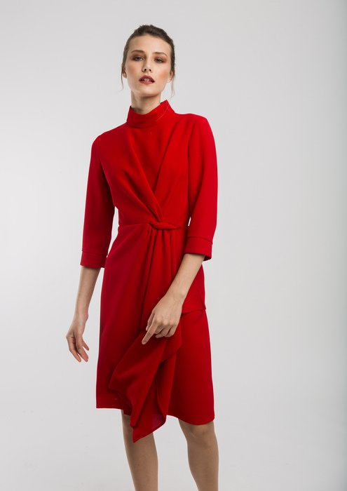 Red dress with three-quarter length sleeves