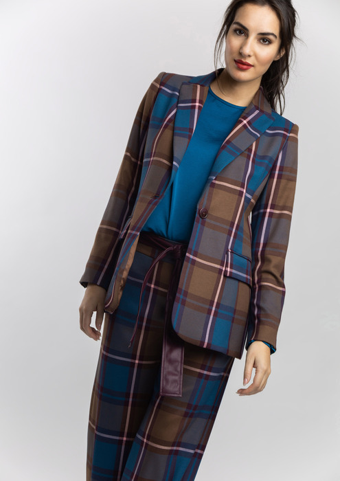 Semi-fitted checked blazer