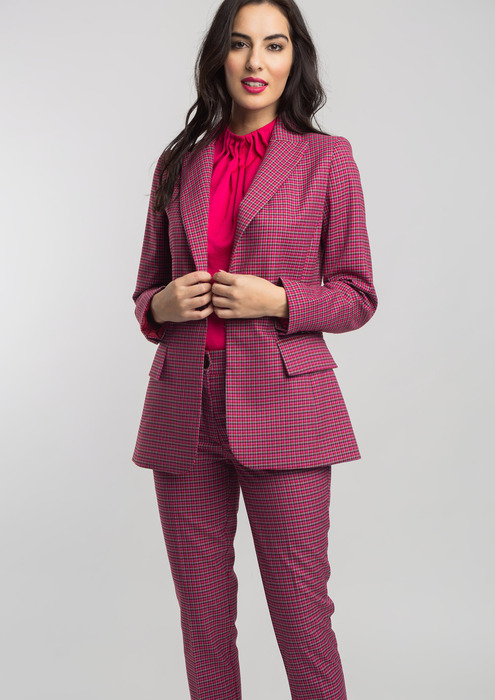 Semi-fitted houndstooth blazer