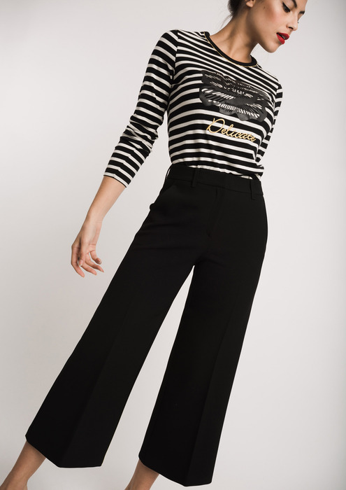 Striped T-shirt with black culottes