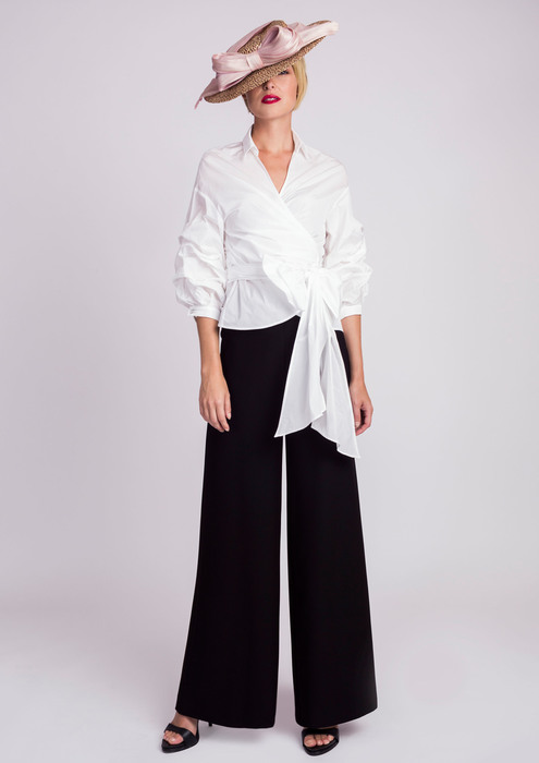 White blouse with wide special occasion trousers