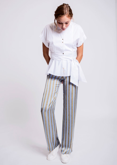 White shirt and striped trousers