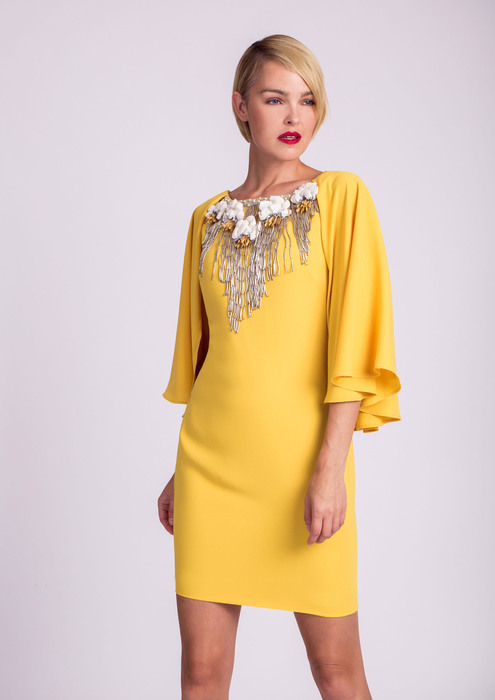 Yellow dress with embellished neckline